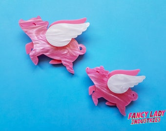 Flying Pig Brooch in Pink Pearl, Small and Large Sizes, Porcine Airlines, Laser Cut Brooch, Pink Pig Brooch