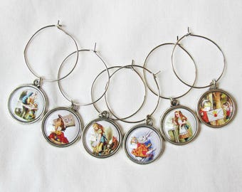 Alice in Wonderland Wine Glass Charms - Foodie Gift Set Illustrated - White Rabbit The Mad Hatter Curioser and Curioser - Barware