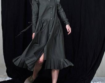 Ingrid frilled dress, designer dress, victirian inspired dress, 3/4 dress, long dress, frilly dress, dark green dress, silky dress