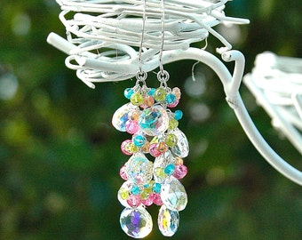 Rainbow Quartz Dangle Earrings / Sterling Silver / Pink Topaz Gemstone / Vesuvianite / Green / Blue / Orange / Mystic / Wire Wrapped