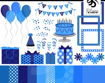 Birthday Clipart & Digital Paper Set-Blue-Girl-Celebration-Party-Scrapbooking-Card Making-Balloons-Banners-Cake-Instant Download Clip Art