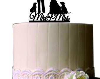 Mr and Mrs Wedding Cake Topper with a two dog,  Silhouette Wedding Cake topper, Bride and groom cake topper, Rustic wedding cake topper