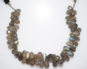 128.5 Ct Labradorite Tear Drop Briolette - Labradorite Faceted Beads , Labradorite Briolette , 7.5x5 - 11.5x6 mm - BL717