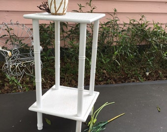 FAUX BAMBOO TABLE, Accent Table, End Table, Faux Bamboo Nightstand, Chinese Chippendale, Chinoiserie, Palm Beach Chic at Ageless Alchemy