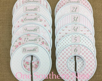 """Closet Dividers, Baby Shower Gift, Newborn Baby Gift, size dividers the perfect gift for a baby girl. """"Melissa"""" in pink & white."""