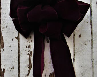 Ready to Ship - Indoor/Outdoor Large Velvet Bows in Deep Wine