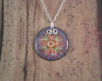 Color Burst Enamel on Copper Pendant with Sterling Silver  purple  multi