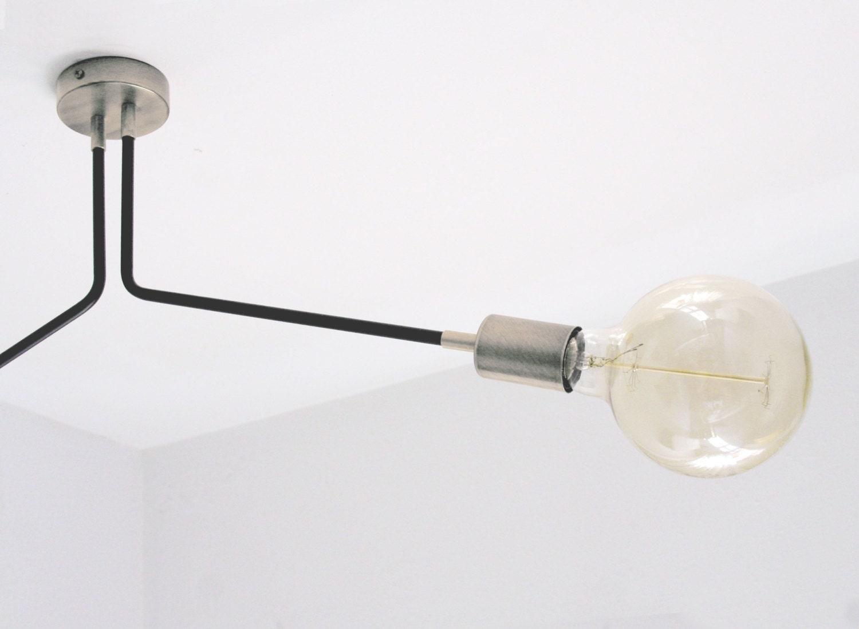 Modern Vintage Sputnik 2 Arm Ceiling Semi Flush Mount