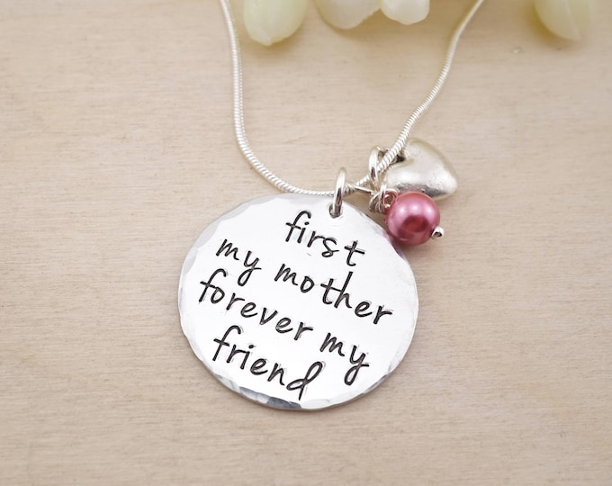 First my mother, forever my friend hand stamped moms necklace. Mothers gift! Unique moms gift.