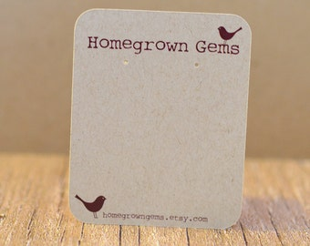 Custom Earring Cards Typewriter Font Birds- Customized - Personalized -  Jewelry Display - Branding DS012