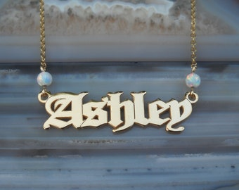 Name Necklace - Personalized Name Necklace - Custom Name Necklace - Nameplate Necklace - Personalized Name Jewelry - Opal