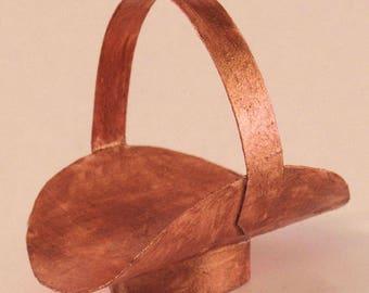 "Miniature ""copper"" fireplace log holder. 1:12 dollhouse scale. Handmade USA."