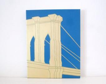 BROOKLYN BRIDGE Painting - Brooklyn Bridge Wall Hanging - Gold Brooklyn Bridge Art - Blue Brooklyn Bridge Print - Brooklyn Art - Gold Bridge