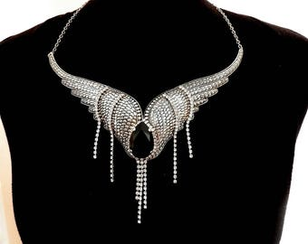 Wings Gothic Choker Necklace Fantasy Gothic Jewelry Silver Wings Necklace Gothic Statement Necklace Swarovski Necklace Gift for Women