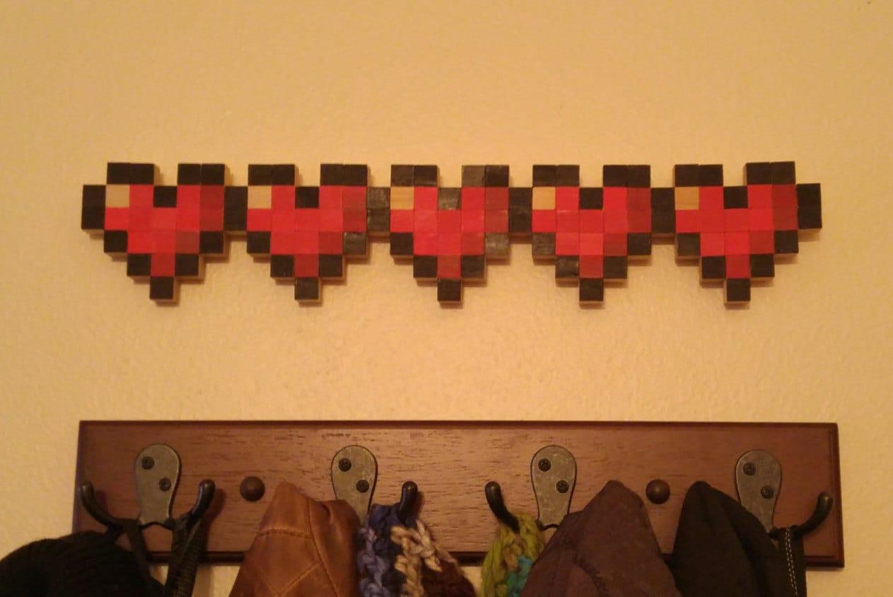 Legend of Zelda/Minecraft Pixel Life Bar Wall Art 5 hearts