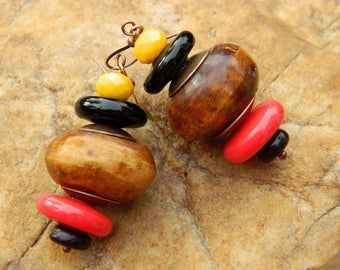 Afrocentric Batik Bone and Lampwork Bead Earrings
