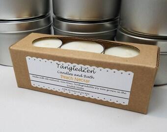 Peach Nectar - 6 All Natural Soy Tea Light Candles