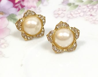Pearl Flower Earrings with Gold Toned Rhinestone Petals, Pearl Flower Studs, Statement Earrings, Wedding Jewelry, Glamorous Earrings (SE4)