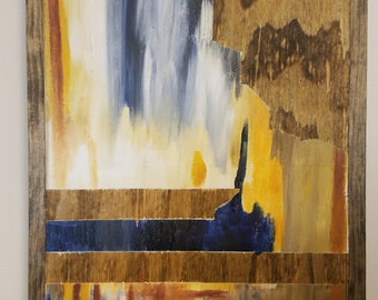 """Acrylic Painting on Wood Stained and Framed """"Exploration"""""""