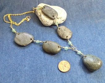Necklace from Natural California Jade Beach Pebbles
