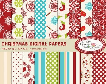 50%OFF Christmas digital paper, Christmas patterns, Christmas scrapbook paper, Christmas patterned paper, commercial use, P86