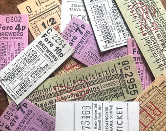 Vintage Transportation Tickets - Set of 12 - Vintage Ticket Stubs, Vintage Paper Ephemera, Vintage Bus Tickets, Old Tickets, Junk Journal