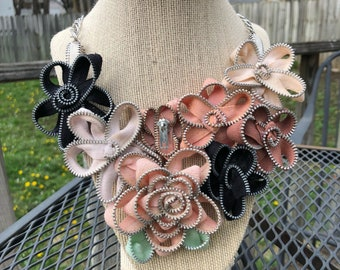 Vintage Zipper Flower Statement Necklace