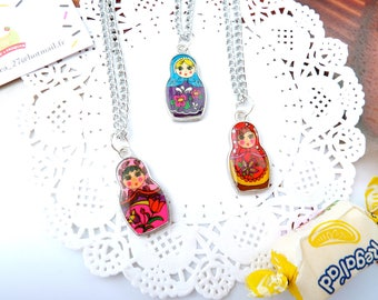 Necklace pretty matryoshka nesting doll