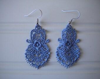 Lace Earrings in Periwinkle