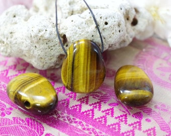 Natural Tiger eye stone drilled pendant