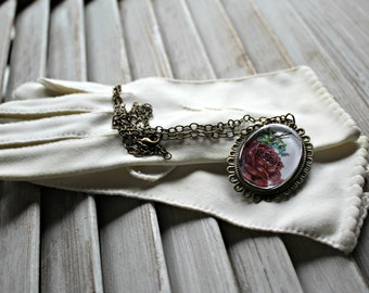 Vintage. White. gloves. With Handmade necklace. 1950s. Very cute gloves. Rose. Necklace.