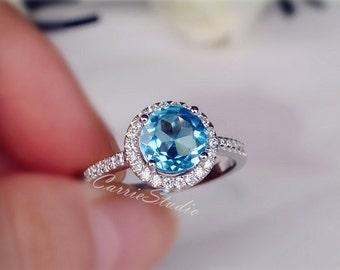 Blue Topaz Ring Topaz Engagement Ring 925 Sterling Silver Ring Anniversary Ring Promise Ring