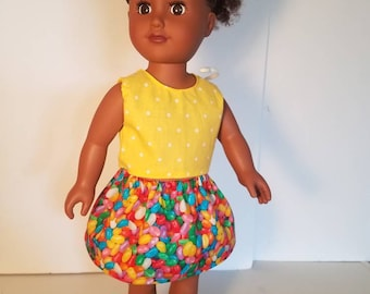"""American girl doll clothes, 18"""" doll dress, skirt and shirt set! Jelly beans and polka dots!"""