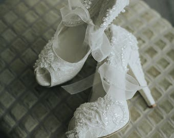 Wedding Shoes, Embellished Ivory Lace Bridal Shoes with Pearls