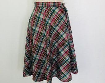 Vintage Handmande Plaid Knee Length Wrap Skirt Size S c.1970