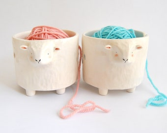 Ceramic Yarn Bowl, White Sheep Shape. Ceramic Knitting Bowl, Sheep Crochet Bowl. Ready To Ship