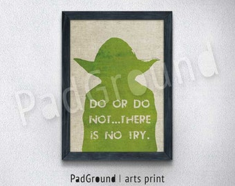 Star Wars, Yoda, Jedi Master, Canvas Print, Personalized Art Print, Cloth Art Print , Natural Linen Print Art with Frame - STW15