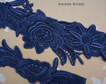 Bridal Garters, Dark Blue Garter, Wedding Garter, Blue Lace Garter, Bridal Garter Set, Something Blue, Wedding Garter Blue, Blue Garter Set