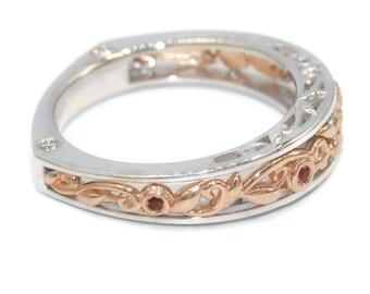 Wedding Leaf ring with diamonds and orange sapphires, euro shank two tone wedding band