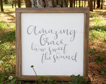 Ready to Ship, Amazing Grace, French Country, Farmhouse, Rustic, Gallery Wall, Hymn Sign