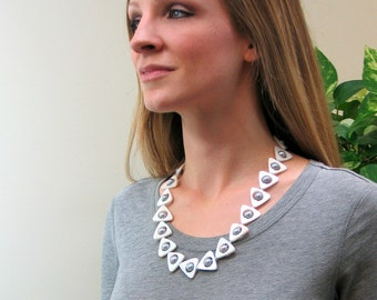 Modern Gray Pearl Necklace, Triangular Framed Big Peacock Pearls, Geometric Spring Trend Jewelry, Classic Gray and White