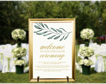 Unplugged Ceremony Poster Sign Editable Template, Greenery unplugged ceremony sign, Gold Unplugged Ceremony Sign, Gold and Green Wedding