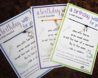 12 Birthday Wish Bracelets..Thanks for Celebrating my Birthday With Me ... Party Favors - Unicorns, Wands, Mermaids