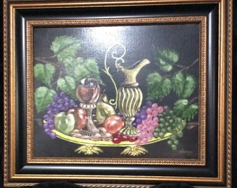 "ORIGINAL Still Life Oil Painting On Canvas Pitcher, Goblet and Fruit Still Life by Harry Kemler. Size: 20"" x 16"" inches unframed"