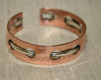 Copper and Silver Cuff ,Handcrafted Cuff Bracelet ,Copper Cuff Bracelet, Open Bangle, Cuff Bracelet,  Adjustable Copper and Silver Bangle,