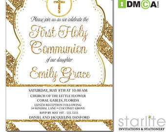 First Communion Invitation White and Gold, 1st Communion Invite Gold Glitter, First Communion Invitation Printable, Communion Invite Printed