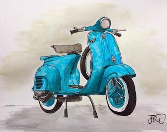 Original Vespa Scooter Vintage Watercolour Painting