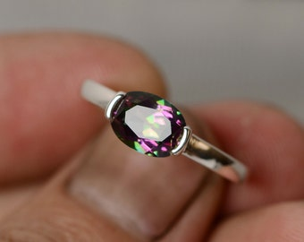 Solitaire Ring Mystic Topaz Ring Gemstone Ring Sterling Silver Oval Ring Bezel Ring