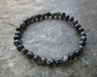 The pure snowflake obsidian bracelet! Stretch bracelet in natural snowflake obsidian beads genuine natural stone Reiki infused