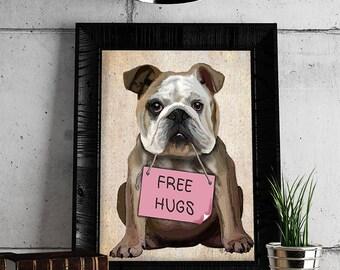 English Bulldog Print - Free Hugs  - British Bulldog Bulldog Décor cute bulldog illustration english bulldog poster funny bulldog print